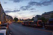 Les camions de gendarmes aux abords de la place Saint-Michel à Paris, le 8 avril 2014
